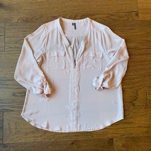 Maurices 3/4 Sleeve Zipper Neck Pocket Blouse